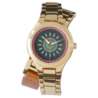 Coral Black Flower Abstract Watch