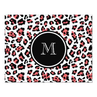 "Coral Black Leopard Animal Print with Monogram 4.25"" X 5.5"" Invitation Card"