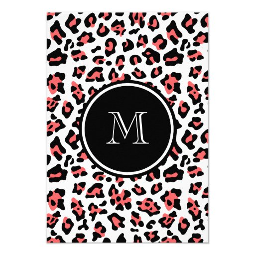 Coral Black Leopard Animal Print with Monogram Personalized Invitations