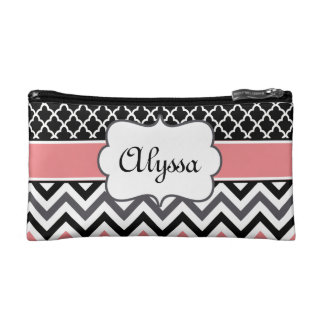 Coral Black Quatrefoil and Chevron Personalized Cosmetic Bags