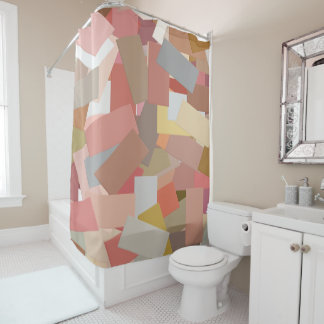 Coral Blocks 5050 shower curtain