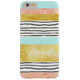 Coral Blue Gold Stripes iPhone 6/6s Plus Case
