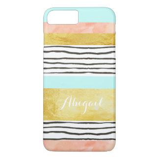 Coral Blue Gold Stripes iPhone 7 Plus Case