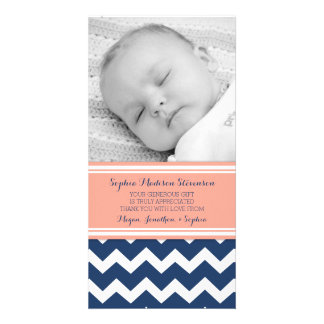 Coral Blue Thank You Baby Shower Photo Cards