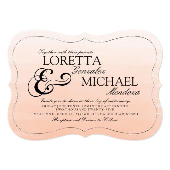 Coral Blush Bold Ampersand Wedding Invitation