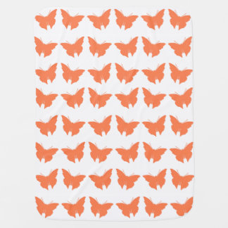 Coral Bold Butterflies Baby Blanket