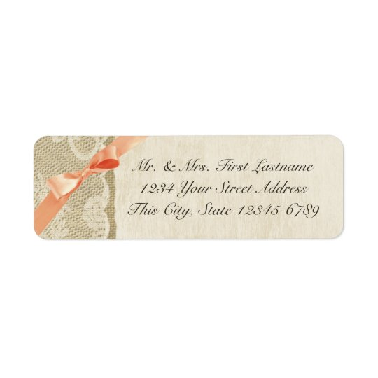Coral Bow, Lace and Burlap Rustic Country Return Address Label