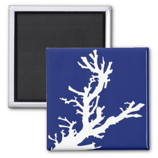Coral branch - navy blue and white magnet