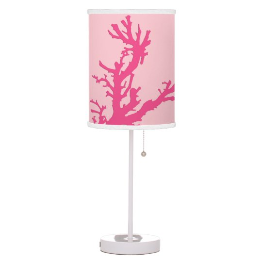 Coral Branch, shades of coral pink Table Lamp