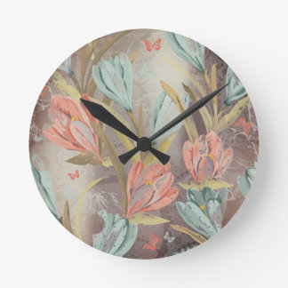 Coral Brown Floral Coffe Blue Ivory Butterfly Round Clock