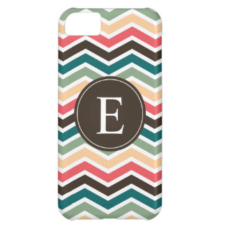 Coral Brown Teal Chevron Monogram Cover For iPhone 5C