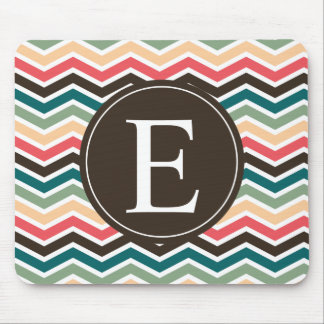 Coral Brown Teal Chevron Monogram Mouse Pad