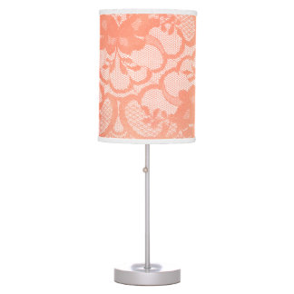 Coral Candy Gold Lace Glam White Luxury Champaign Table Lamp