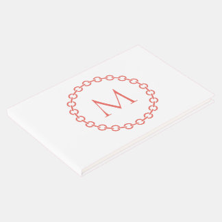 Coral Chain Link Ring Circle Monogram Guest Book
