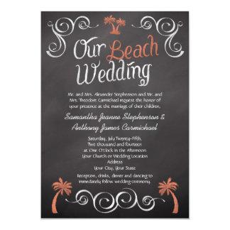 Coral Chalkboard Script Beach Wedding Card