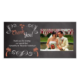 Coral Chalkboard Script Beach Wedding Thank You Card