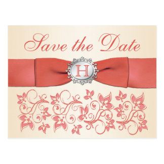 Coral, Champagne Floral Save the Date Postcard