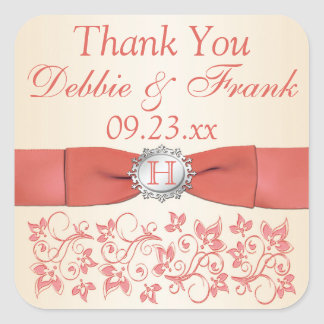 Coral, Champagne Floral Wedding Favour Sticker
