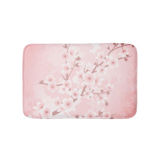Coral Cherry Blossoms Bath Mat