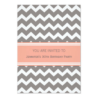 Coral Chevron 30th Birthday Party Invitations