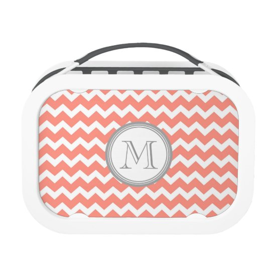 Coral Chevron Grey Monogram Custom Lunch Box