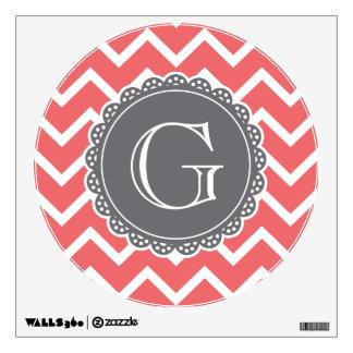 Coral Chevron Grey Monogram Wall Sticker