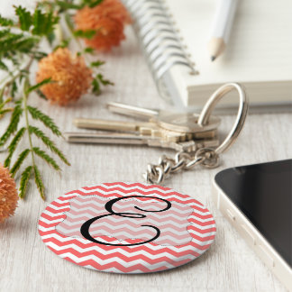 Coral Chevron Initial Keyring