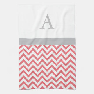 Coral Chevron Monogram Kitchen Towel