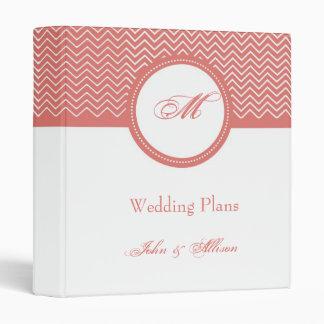 Coral Chevron Monogram Wedding Organizer Binder