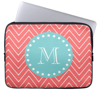 Coral Chevron Pattern | Teal Monogram Laptop Sleeve