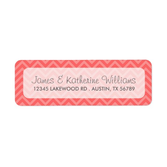 Coral Chevron Stripes Modern Wedding Return Address Label