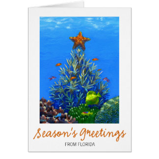 Coral Christmas Tree Card