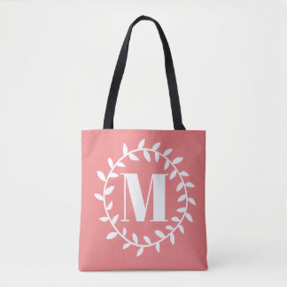 Coral Circle Monogram with Rose Stripe Tote Bag