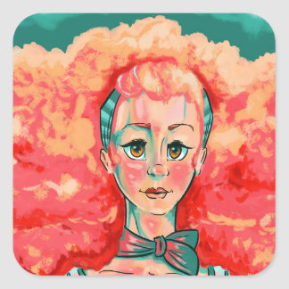 Coral Cloud Square Sticker