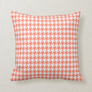 Coral Color Houndstooth Throw Pillow