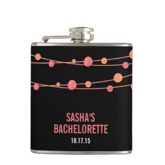 Coral Confetti Personalized Bachelorette Party Flask