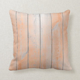Coral Copper Candy Gray Metallic Wood Cottage Throw Pillow