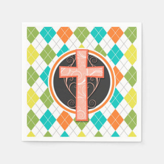 Coral Cross on Colorful Argyle Pattern Disposable Napkin