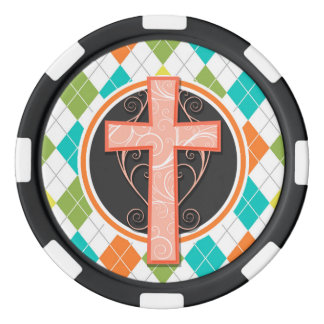 Coral Cross on Colorful Argyle Pattern Poker Chips