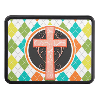Coral Cross on Colorful Argyle Pattern Trailer Hitch Cover