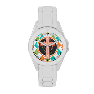 Coral Cross on Colorful Argyle Pattern Wrist Watch