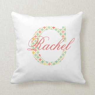 Coral Custom Letter Monogram C With Name Throw Pillow