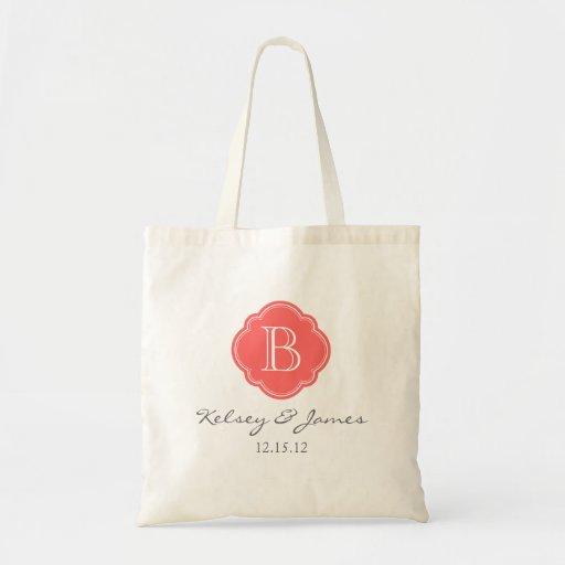 Coral Custom Monogram Wedding Favor Tote Canvas Bags