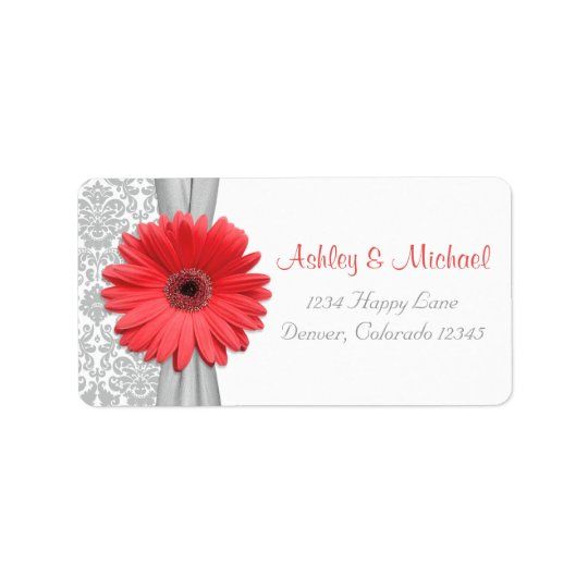 Coral Daisy Grey Damask Wedding Return Address