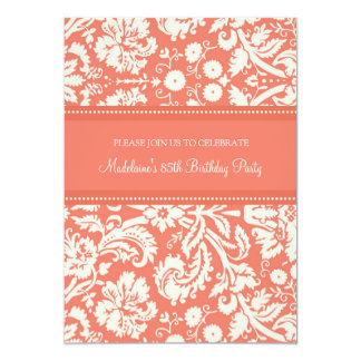 Coral Damask 85th Birthday Party Invitations