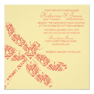 Coral Damask Dragonfly Wedding Invitation