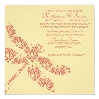 Coral Damask Dragonfly Wedding Invitation