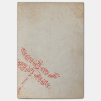 Coral Damask Dragonfly Wedding Post-it Notes