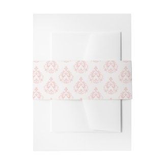 Coral Damask Invitation Belly Bands Invitation Belly Band