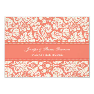 Coral Damask Just Married Announcement Cards